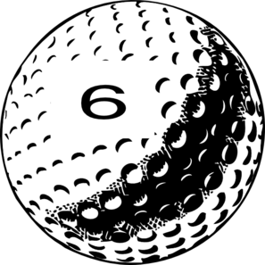 Golf Ball Number 6 Clip Art