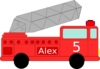 Alex Birthday Firetruck Clip Art