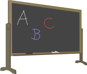 Blackboard With Stand And Letters Clip Art