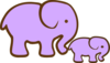 Purple Elephant And Baby Clip Art