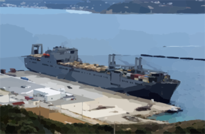 The Large, Medium-speed Roll-on/roll-off Ship Usns Benavidez  (t-akr 306) Sits Pierside In Souda Harbor During A Brief Port Visit. Clip Art
