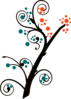 Orange And Teal Branch Clip Art