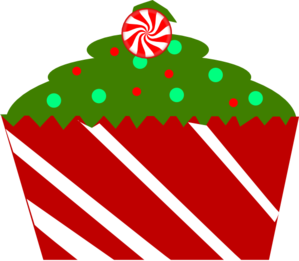 Christmas Cupcake With Striped Wrapper Clip Art