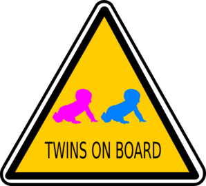 Twins On Board Sign Clip Art