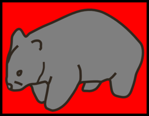 Grey Wombat On Red Background Clip Art