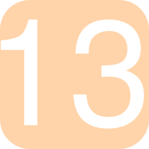 Light Orange, Rounded, Square With Number 13 Clip Art
