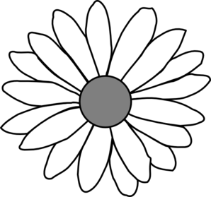 Daisy With Gray Center Clip Art