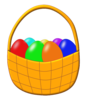 Easter Basket With Colored Eggs Clip Art