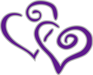 New Purple And Silver Hearts Clip Art