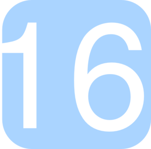 Light Blue, Rounded, Square With Number 16 Clip Art