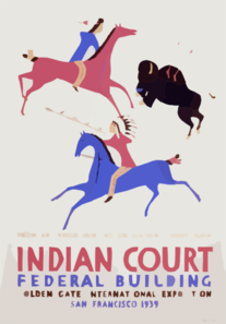 Indian Court, Federal Building, Golden Gate International Exposition, San Francisco, 1939 From An Indian Painting On Elkskin, Great Plains / Siegriest. Clip Art