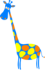 Giraffe Blue With Orange And Yellow Dots Clip Art