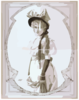 [woman In Bowed Hat And Gloves] Clip Art