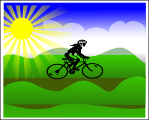Sun Landscape With Girl Riding Bike Clip Art