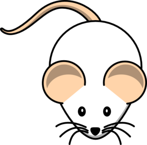 White Mouse Pink Tail Clip Art