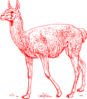 Red Llama Outline Clip Art