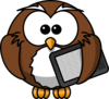 Owl With Tablet Clip Art