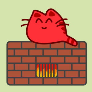Happy Cat On Warm Oven Clip Art