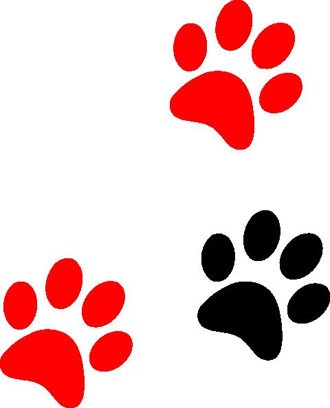 black red paw print clip art at clker com vector clip art online rh clker com