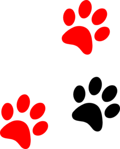 Black/red Paw Print Clip Art