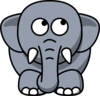 Elephant Looking Right-up Clip Art