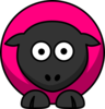 Sheep - Pinky Raspberry On Black  Clip Art