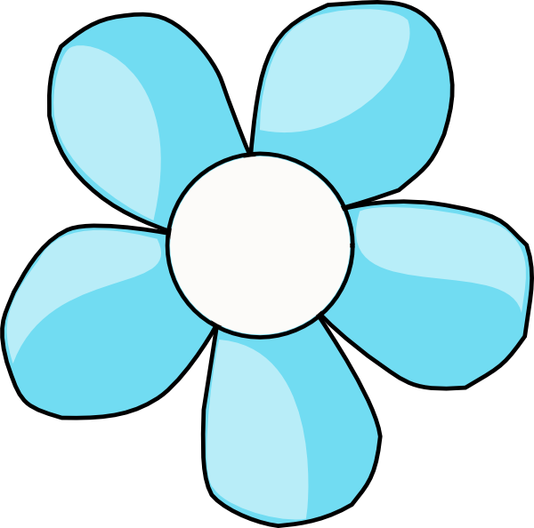 Turquoise Flower White Center Clip Art At Vector Clip Art Online Royalty Free