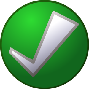 White Tick Check On Green Clip Art