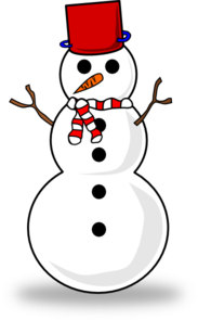 Snowman With Red Top Hat Clip Art