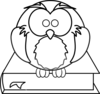 Owl On Book Black And White Clip Art