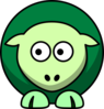 Sheep 2 Toned Greens Looking Left Clip Art