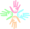 Four Colored Hands Pastel 2 Clip Art