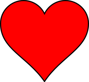 Red Heart With Thin Black Outline Clip Art