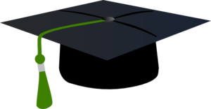 Graduation Hat With Green Tassle Clip Art