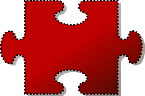 Jigsaw Red Puzzle Piece Cutout Clip Art