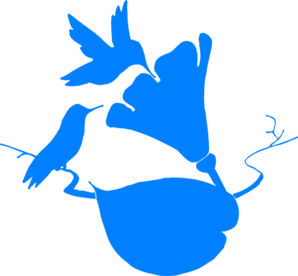 2 Blue Hummingbirds In Corner Clip Art