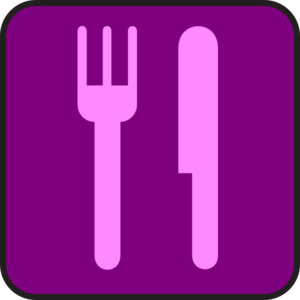 Purple And Pink Knife And Fork Clip Art