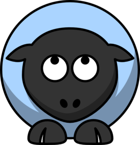 Sheep Looking Up Baby Blue Clip Art