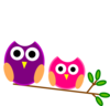 Big And Little Pink And Purple Owls Clip Art