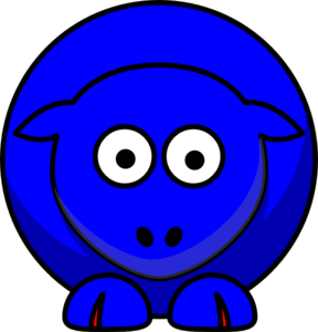 Sheep Looking Straight Blue With Red Toes Clip Art