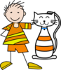 Cat And Boy Clip Art