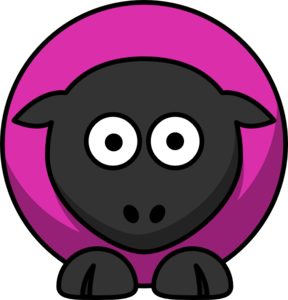 Sheep - Pinky Purple On Black  Clip Art