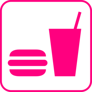 Pink Snack And Drink Sign Clip Art