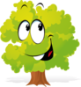 Happy Cartoon Tree Clip Art