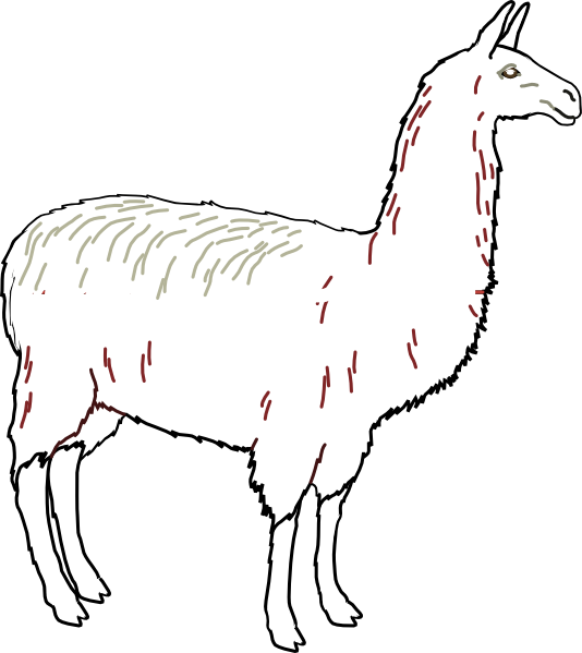 Llama Outline Llama outline clean clip art