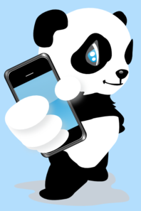 Panda With Mobile Phone Clip Art