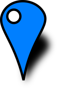 Blue Map Pin With White Dot Clip Art