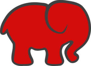 Red Gray Elephant Clip Art