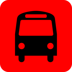 Bus Station Icon Black Red Clip Art
