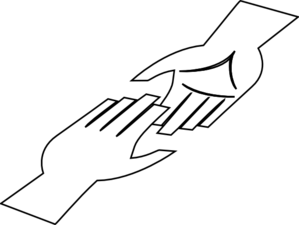 White Hands With Black Lining Clip Art